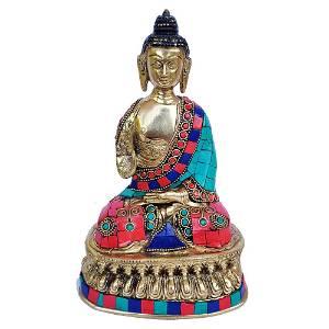 Brass Idol of Buddha Blessing Posture Studded Stones -