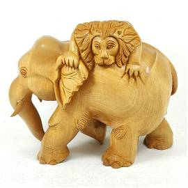 """Lion Hunting Elephant Hand Carved Wooden Sculpture 6"""""""