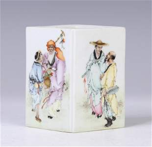 A Famille Rose 'Eight Immortals' Square Brush Pot