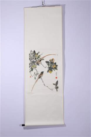 A Chinese Painting Scroll of Birds and Loquat