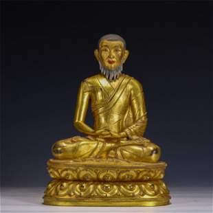A Rare Gilt Bronze Seated Figure of Guru
