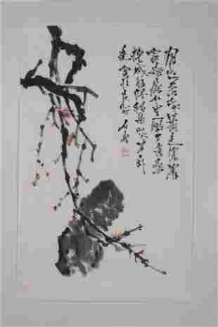 A Chinese Painting of Plum Blossoms and Rocks