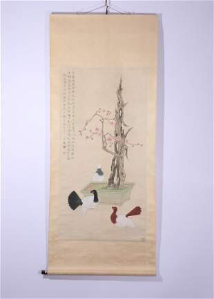 A Chinese Painting of Plum Blossoms and Pigeons