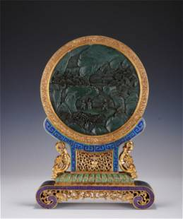 AN IMPERIAL CARVED SPINACH GREEN JADE INLAID CHAMPLEVEE