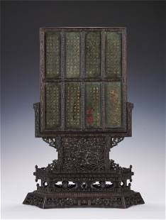 A SPINACH GREEN JADE INLAID ROSEWOOD TABLE SCREEN