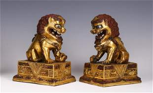 MATCHED PAIR BRONZE PARCEL GILT FO DOGS