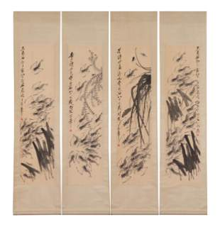 FOUR CHINESE PAINTING PANELS OF SHRIMPS