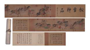 A CHINESE PAINTING HAND-SCROLL OF RARE HORSES
