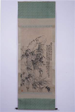 A CHINESE PAINTING HANGING SCROLL OF INK BAMBOO