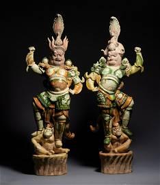 Ganlong three-color heavenly kings figurines
