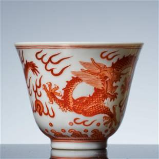 Tongzhi powder color dragon cup in Qing Dynasty
