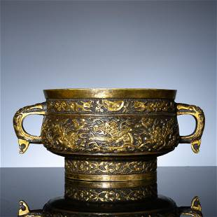 Gold-sprinkling dragon-grain double-ear stove in the