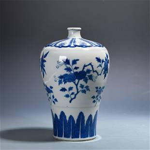 Blue and white plum bottle with three fruits in late
