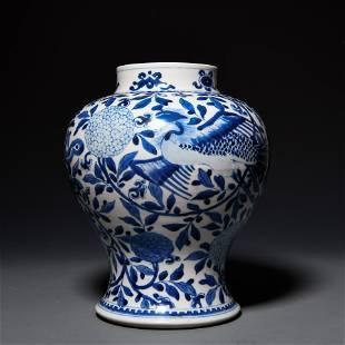 Qing Guangxu blue-and-white phoenix flower general jar