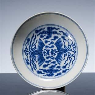 Tongzhi blue and white phoenix pattern dish in Qing