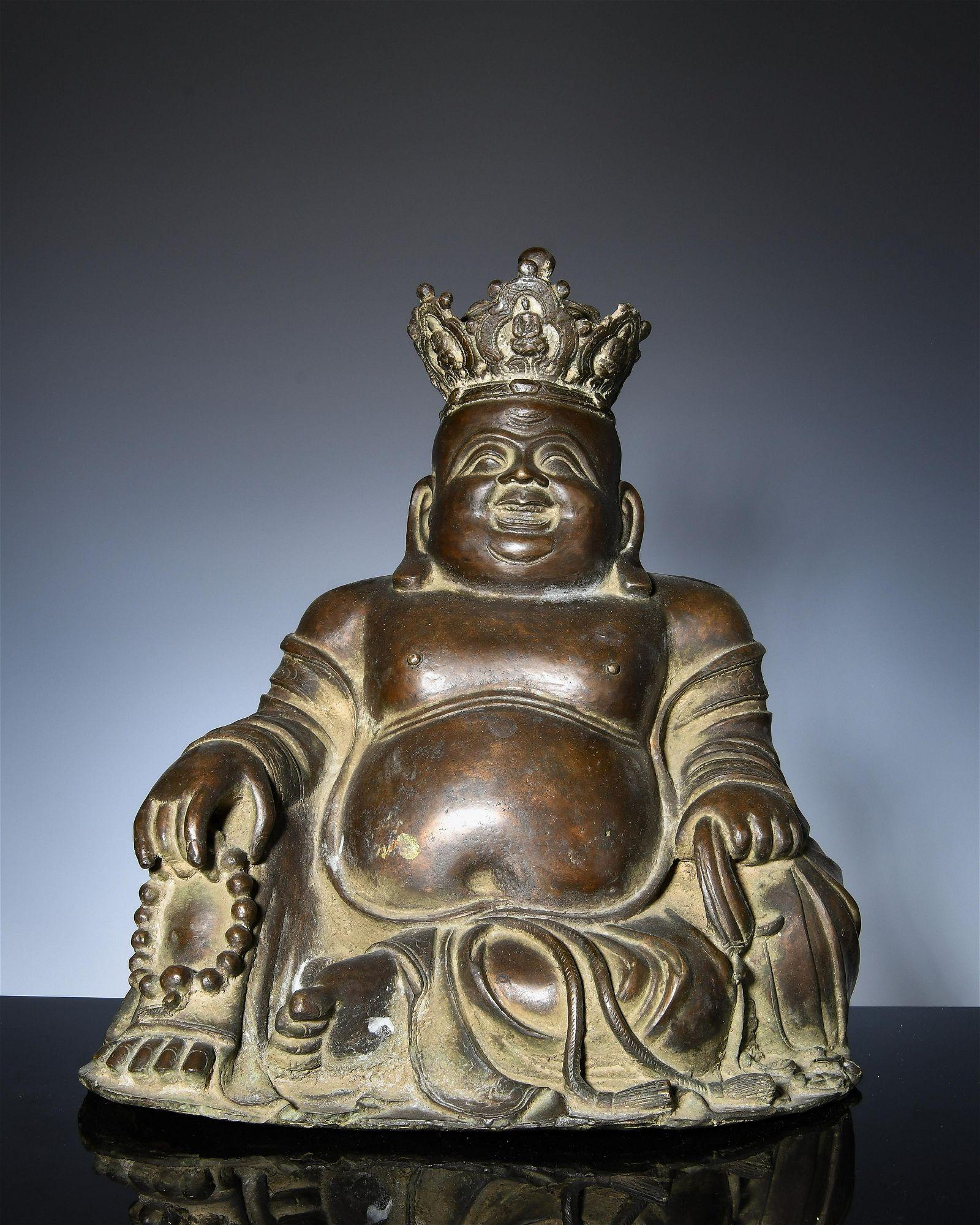 Bronze statue of Maitreya Buddha in Ming Dynasty