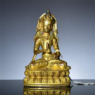 Bronze gilded Buddha statues in Qing Dynasty