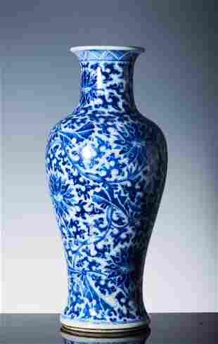 Qing Kangxi blue and white flower pattern Guanyin Zun
