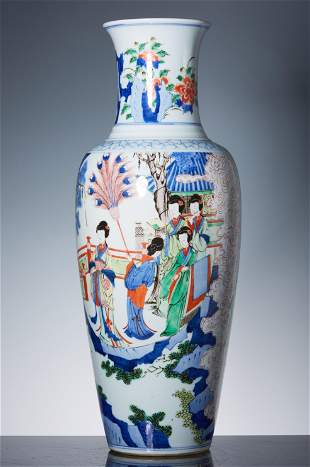 Qing Kangxi blue and white colorful character story