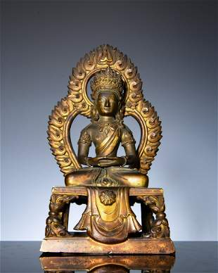 Bronze-gilded Buddha statues in the middle Qing Dynasty