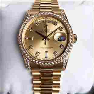 18k Gold Diamond Rolex Oyster Perpetual Day-Date Watch