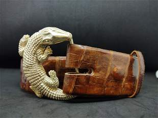 Croc Leather Belt with Sterling Silver Alligator Buckle