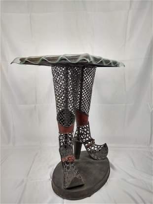 Metallic End Table w/ Glass Top