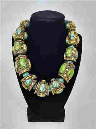 "Vintage Tibetan Bead Necklace, 20"""