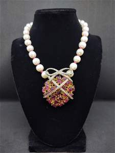 Pearl Necklace with Rubellite Pendant