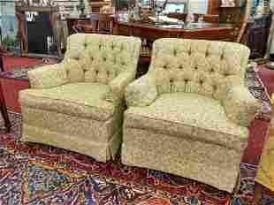 Pair of Tufted Swivel Chairs/Green