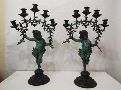 Pair of vintage Bronze Cherub Candelabra