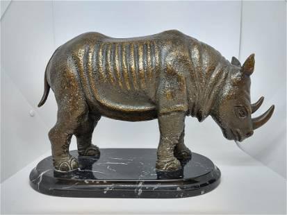Bronze Rhino on Marble Base