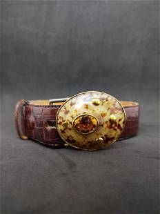 Croc Belt w/Natural Shell Buckle with 20 ctw Citrine