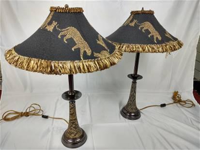 Snakeskin Lamp Base w/ Cheetah Print Shade