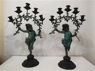 Pair of Vintage Bronze Cherub Candelabras