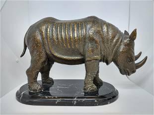 Bronze Rhino Statue on Marble Base