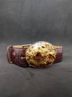 Croc Belt w/Natural Shell Buckle & 20 ctw Citrine