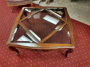 Coffee Table with Beveled Edged Glass Inserts