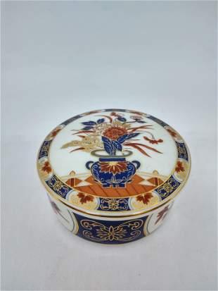Vintage Porcelain Floral Trinket Dish with Top