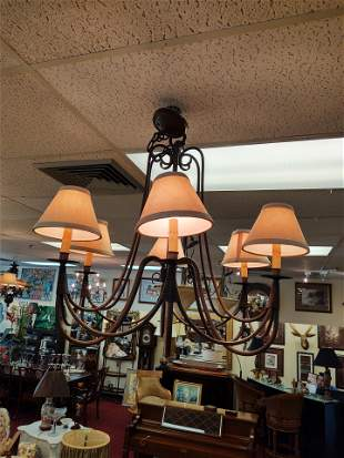 French 6 Arm Chandelier