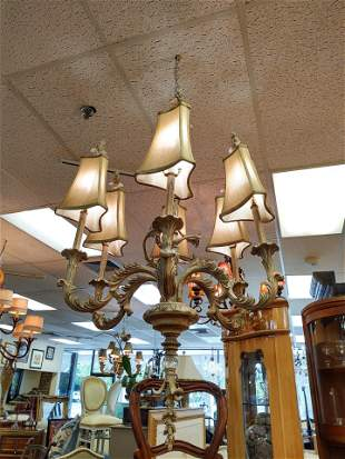 French Country 6 Arm Chandelier w/ Silk Shades
