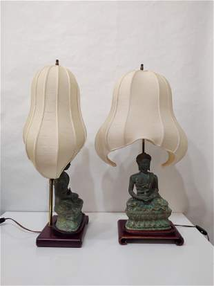 Pair of Vintage Bronze Buddah Table Lamps