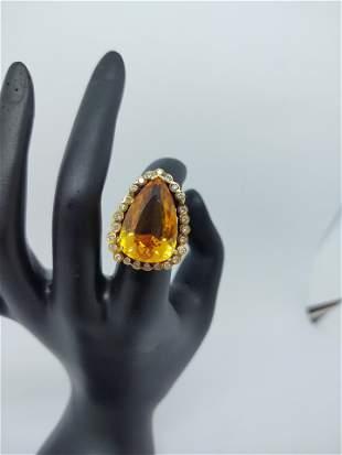 Genuine Brazilian pear shape Topaz Ring