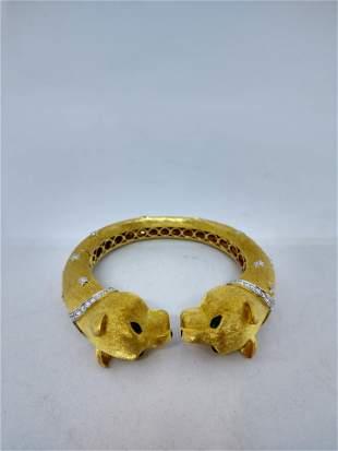 Tiger Cuff Bracelet/3 oz 18 k Gold