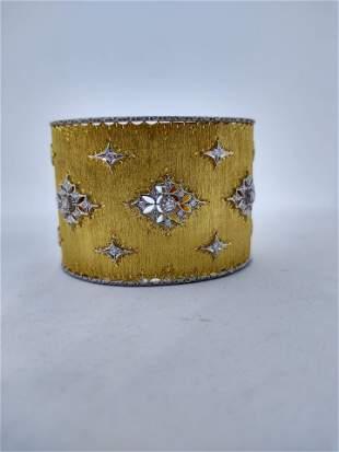 18 k Gold Large Cuff Bracelet with Diamond