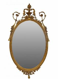 Ornate Oval Gilded Mirror