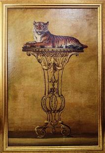 Oil on Board Painting of a Tiger on Pedestal
