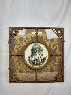 Chinoiserie Hand Colored Print in Ornate Metal Frame