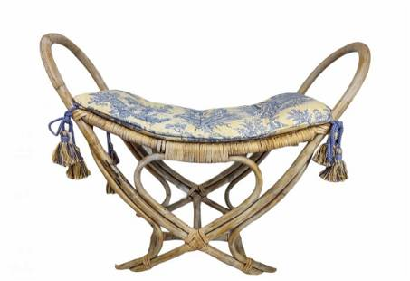Bamboo Bench with Toile Cushion