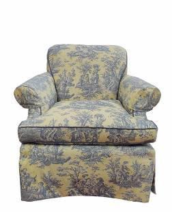 Custom Toile Upholstered Club Chair